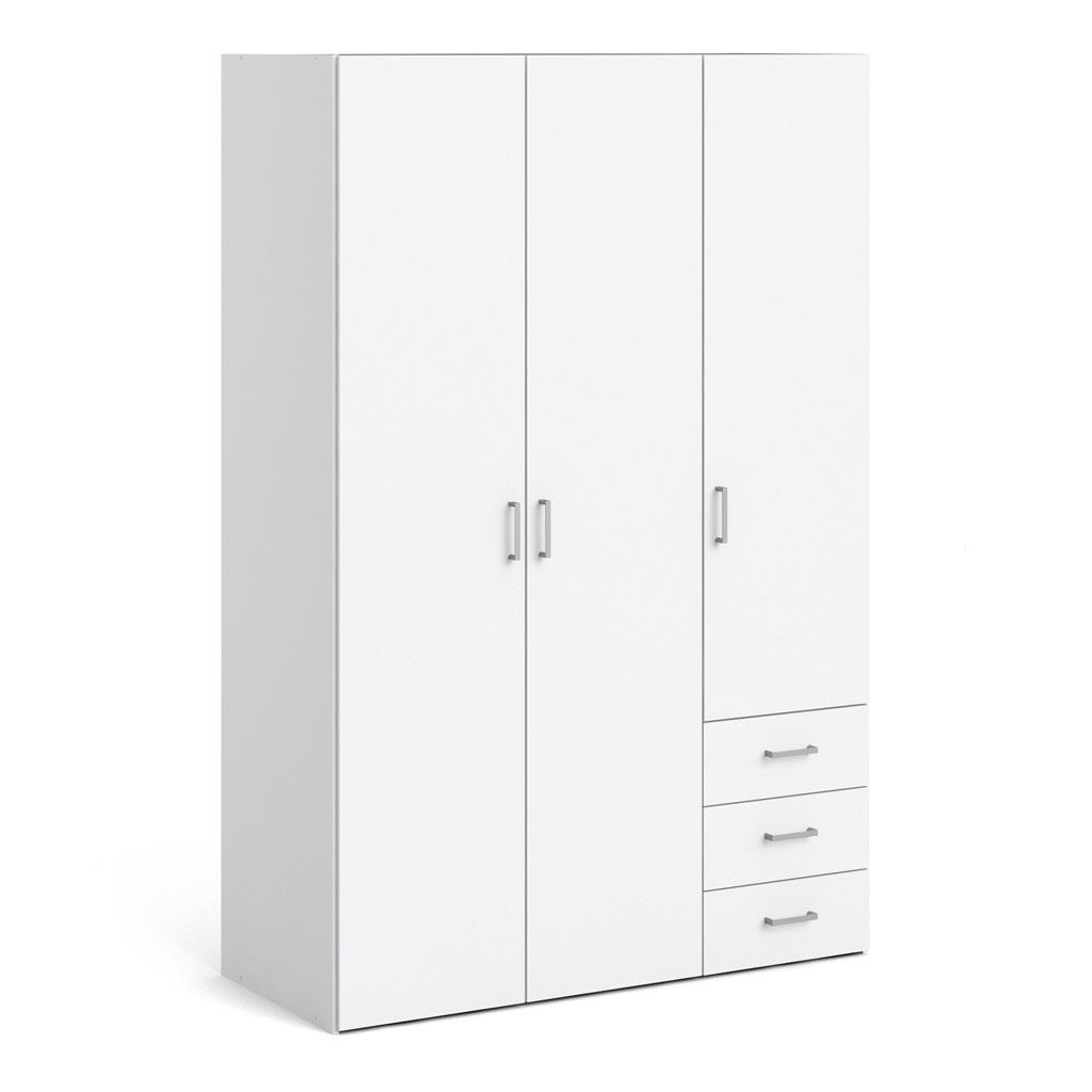 Spirit Triple Wardrobe With 3 Drawers In White