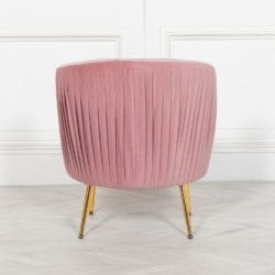 Rosewater Pink Pleated Velvet Bedroom Chair With Gold Legs Online Home Improvements
