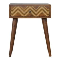 Chevron Design Brass Inlay Bedside Table with Drawer