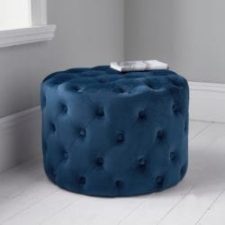 Velvet Pouffe Stool with Button Detail - Available in a Choice of Colours