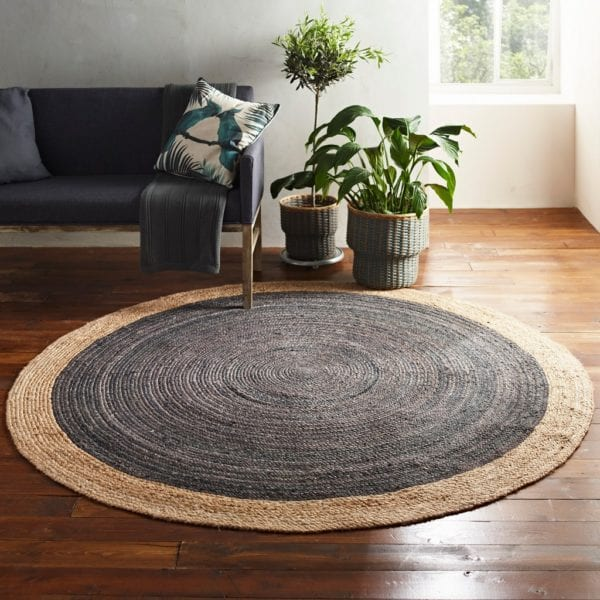 Soft Round Jute Rug with Dark Grey Centre - Available in a Choice of Sizes