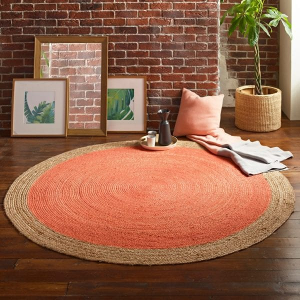 Soft Round Jute Rug with Peach Orange Centre - Available in a Choice of Sizes