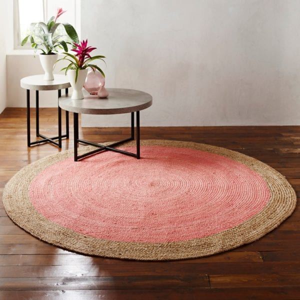 Soft Round Jute Rug with Rose Pink Centre - Available in a Choice of Sizes