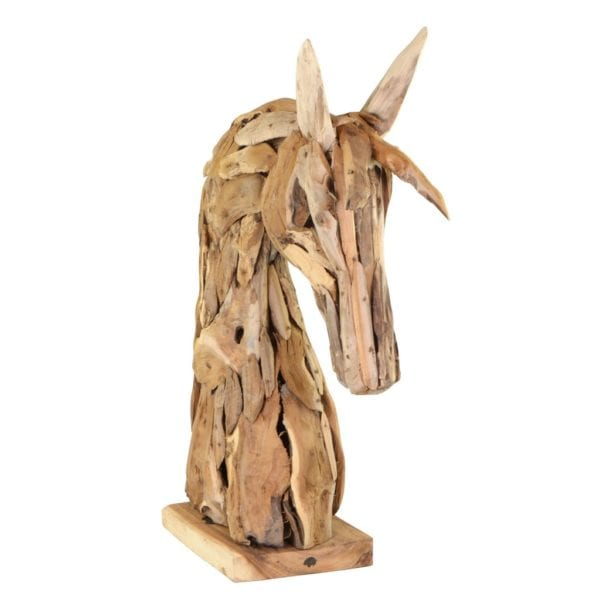 Reclaimed Teak Wooden Horses Head Ornament - Available in a Choice of Sizes