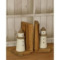 Pair of Rustic Style Wooden Lighthouse Bookends