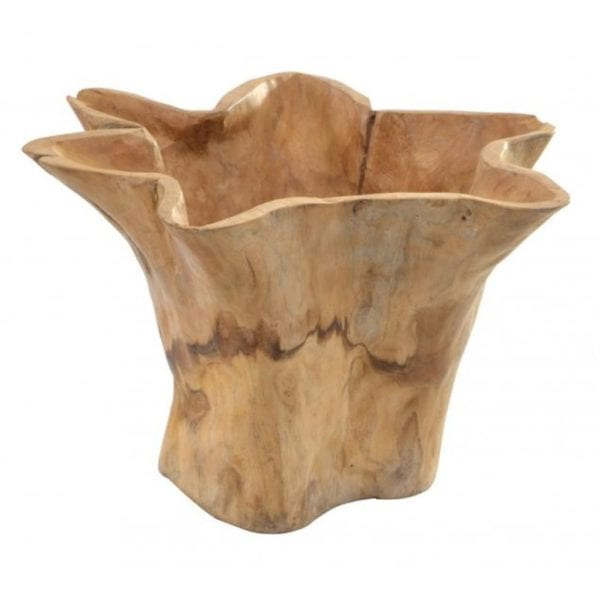 Reclaimed Teak Wooden Wavy Edge Pot