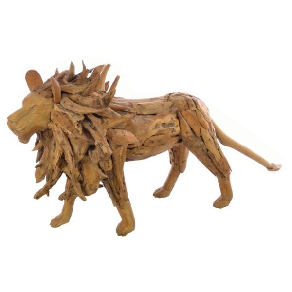 Reclaimed Teak Wood Handcrafted Driftwood Lion