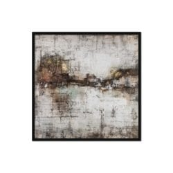 Abstract Canvas Oil Painting with Gold & Neutrals Horizontal Design