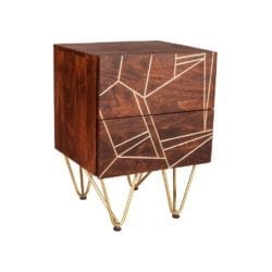 Shimler Dark Wood Contemporary Style Bedside Cabinet or Lamp Table with Abstract Gold Design