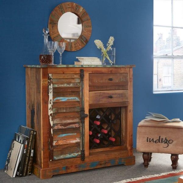 Vintage Shores Wooden Sideboard Cabinet with Built In Wine Bottle Rack
