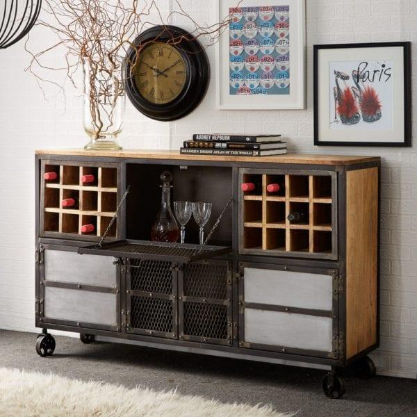 Dexter Industrial Style Large Sideboard Drinks Cabinet in Grey Metal & Wood