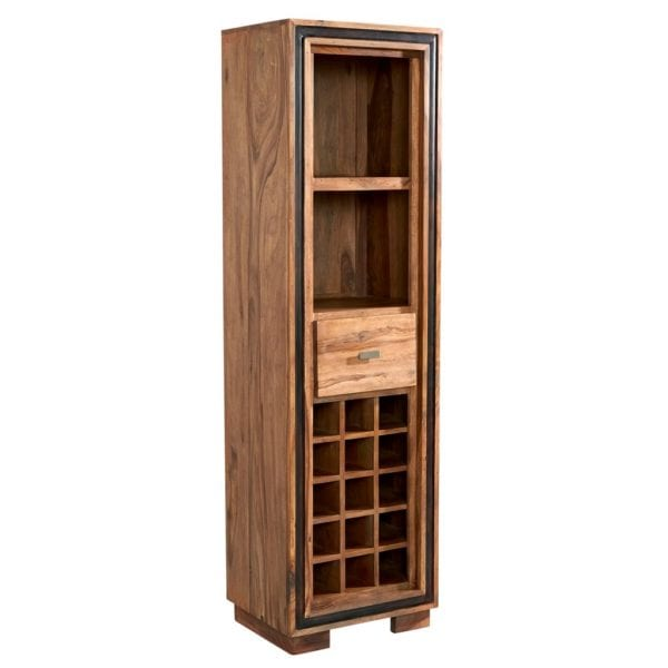 Indian Rosewood Collection Slim Display Cabinet with Wine Bottle Rack in Solid Wood