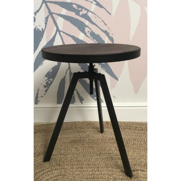 Contemporary Style Wooden Top Adjustable Occasional Lamp Table