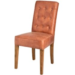 Faux Leather Dining Chair in Tan Brown