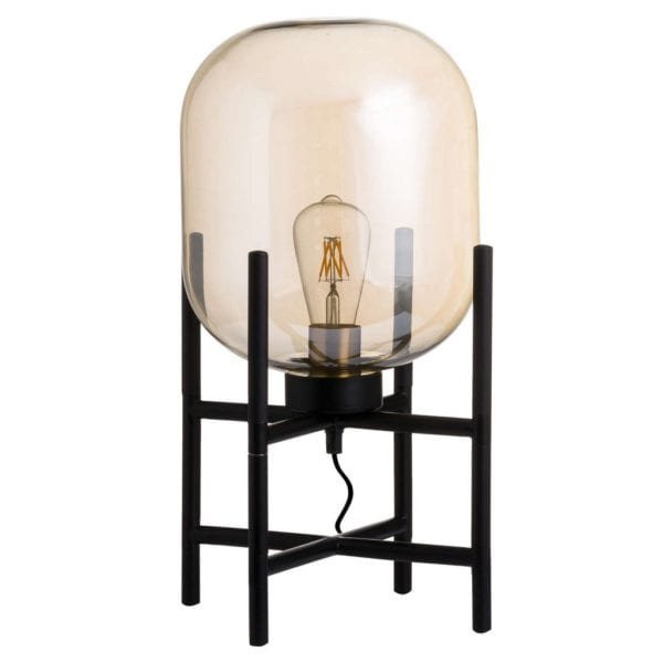 Myra Vintage Industrial Style Smoked Glass Desk Table Lamp