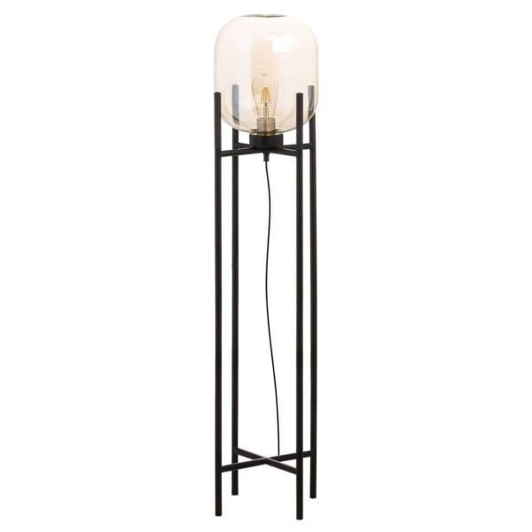 Myra Vintage Industrial Style Smoked Glass Floor Lamp