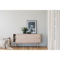 Damon Contemporary Style Wooden Sideboard with Sliding Doors in Whitewashed Oak