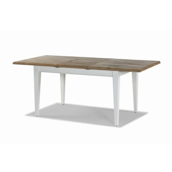 Laleham Hand Painted Extendable Kitchen Dining Table in White & Natural Wood