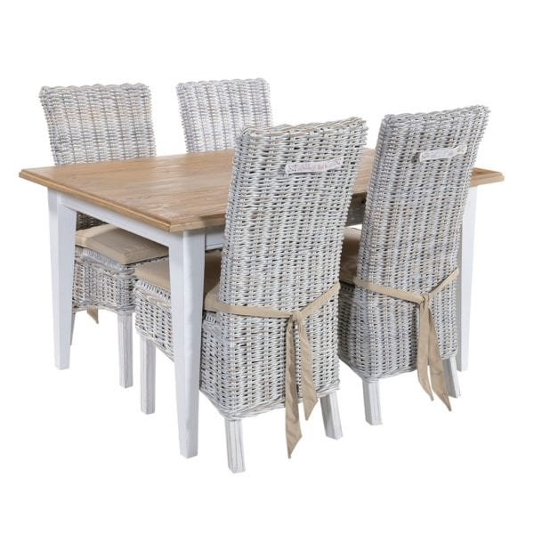 Laleham Hand Painted White & Natural Wood Kitchen Dining Table