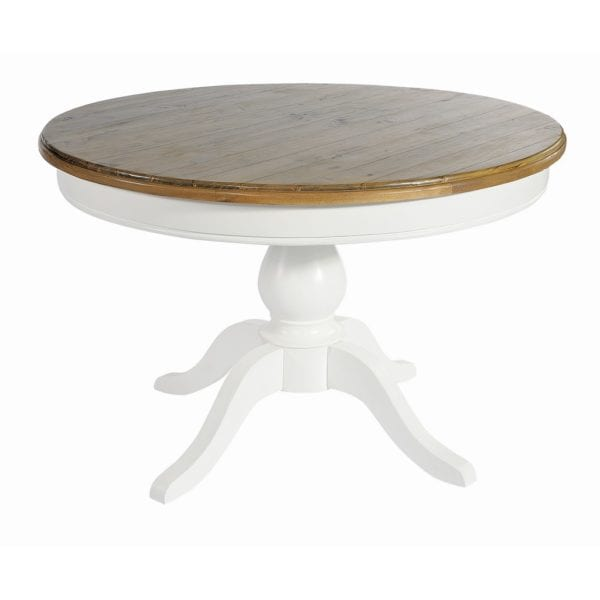 Laleham Hand Painted White & Natural Wood Round Kitchen Dining Table