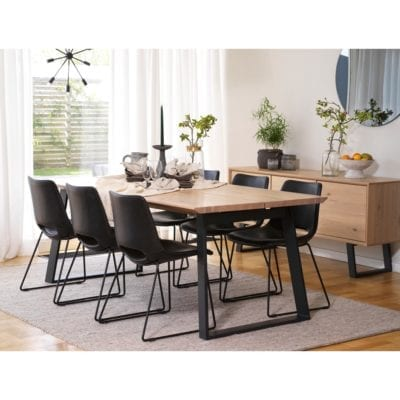 Marcia Industrial Style Large Extendable Wooden Kitchen Dining Table in Whitewash Oak