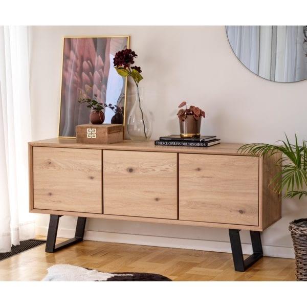 Marcia Industrial Style Wooden Sideboard Cabinet in Whitewash Oak
