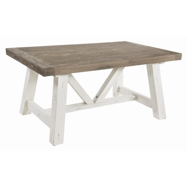 Peace River Reclaimed Wood Extendable Kitchen Dining Table in Distressed White - Available in a Choice of Sizes