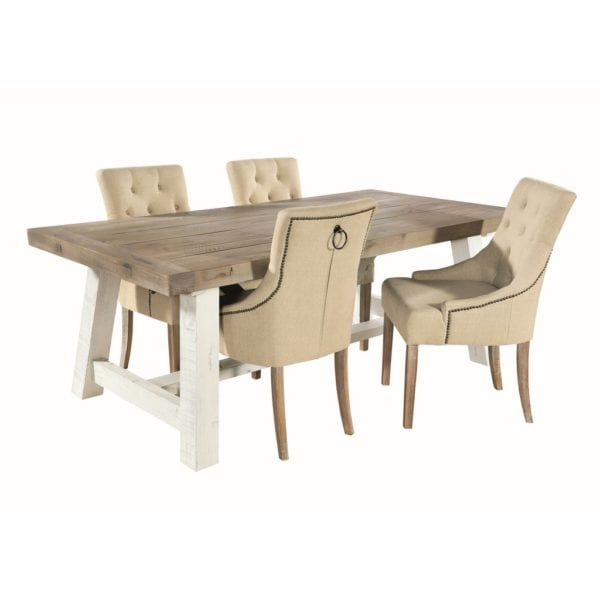 Stephanie Button Back Upholstered Dining Chair in Oatmeal Cream - Set of 2