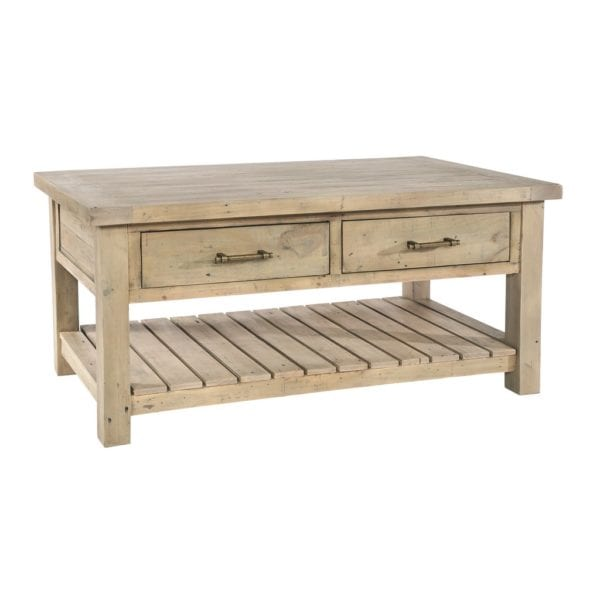 St Leonards Chunky Reclaimed Wood Coffee Table with 2 Drawers