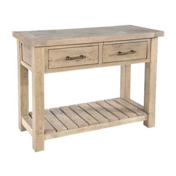 St Leonards Chunky Reclaimed Wood Console Table with 2 Drawers