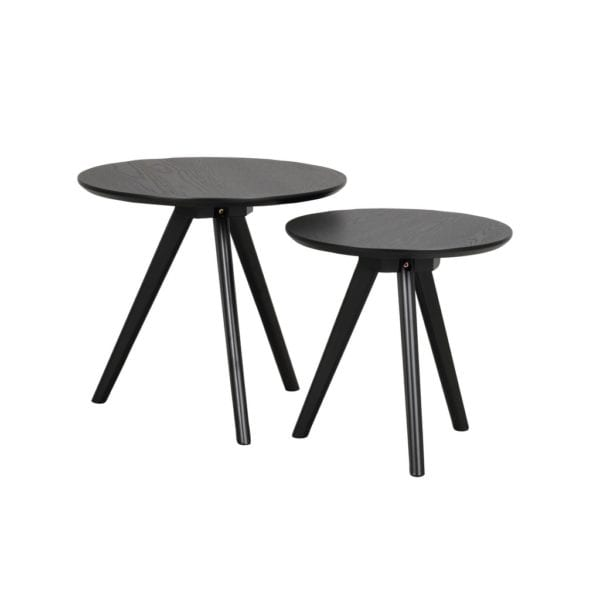 Yamara Modern Round Wooden Nest of 2 Tables - Available in a Choice of Colours