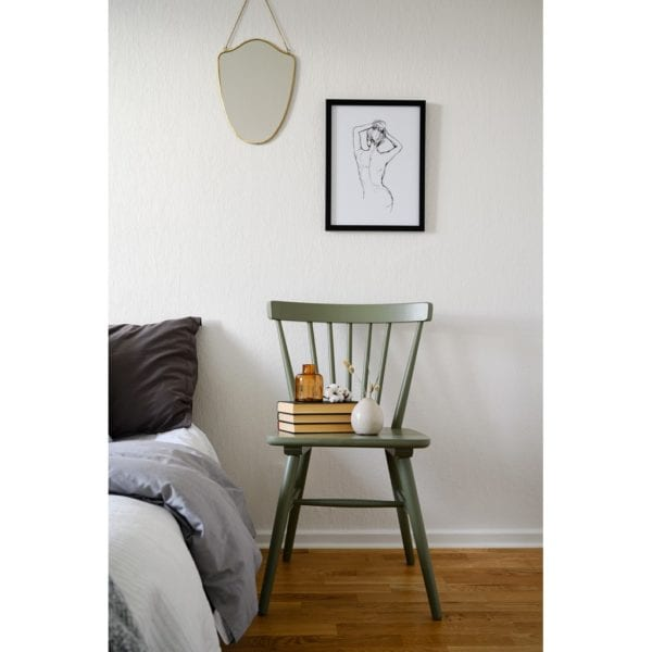 Anita Solid Wood Dining Kitchen Chair in Sage Green - Set of 2