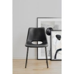 Marlon Black Faux Leather Chair with Black Metal Legs