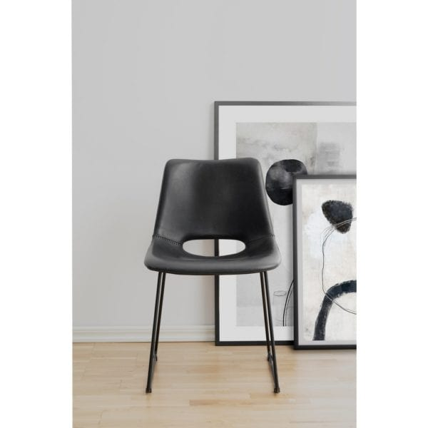 Marlon Black Faux Leather Chair with Black Metal Legs - Set of 2