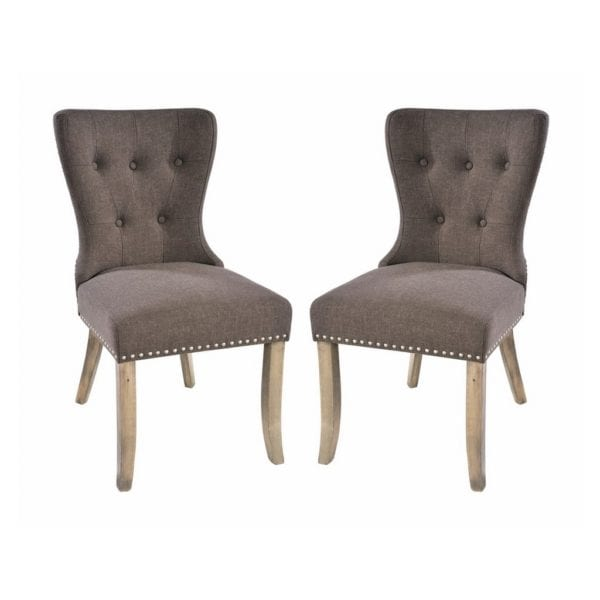 Anabelle Vintage Style Button Back Chair in Grey Brown Fabric - Set of 2