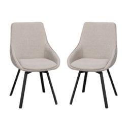 Ava Modern Padded Swivel Chair with Black Metal Legs