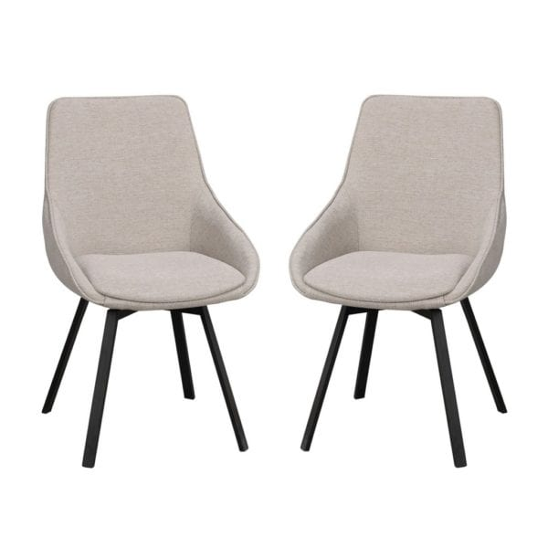 Ava Modern Padded Swivel Chair with Black Metal Legs - Set of 2 - Available in a Choice of Colours