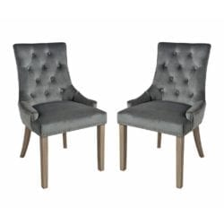 Valenzia Plush Fabric Chair with Button & Stud Detail - Set of 2