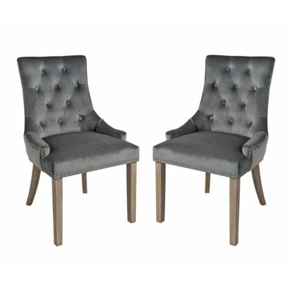 Valenzia Plush Fabric Chair with Button & Stud Detail - Set of 2 - Available in a Choice of Colours