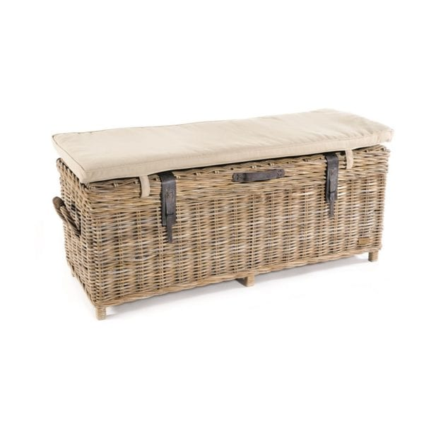Quincy Rattan Storage Bench with Cushion with Leather Detail - Available in a Choice of Colours