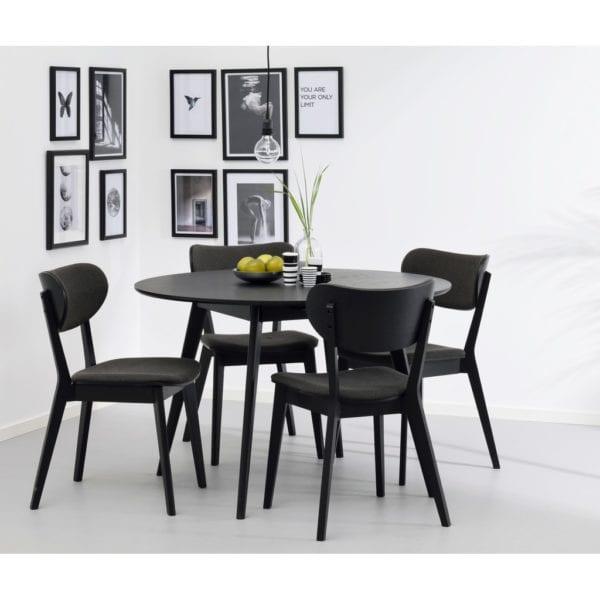 Yamara Modern Oak Veneer Black Round Kitchen Dining Table