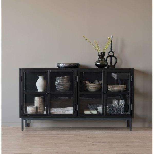 Melrose Contemporary Style Large Black Glazed Sideboard