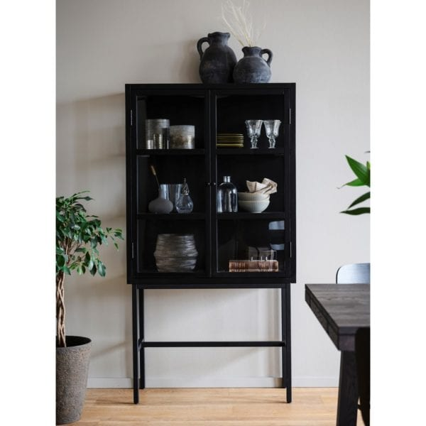 Melrose Contemporary Style Black Glazed Display Cabinet