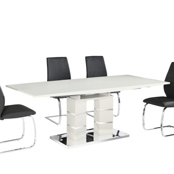 Jackman Extendable Dining Table in White Gloss & Chrome