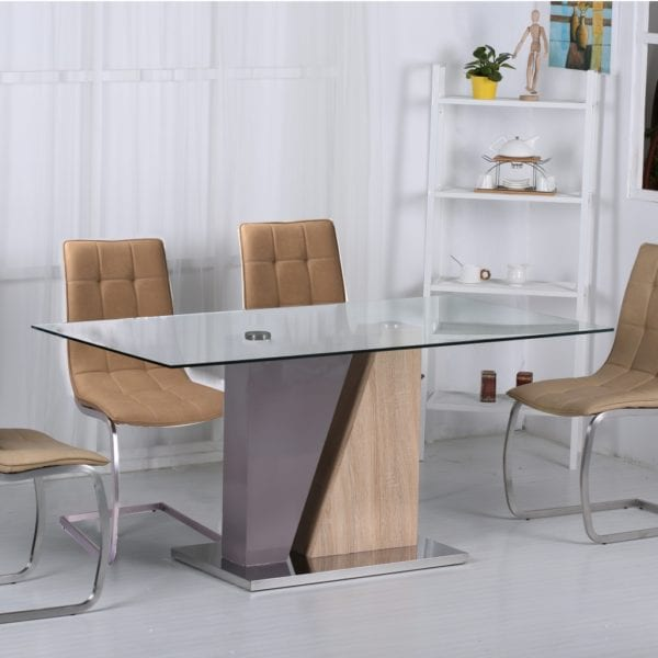 Orleans Glass Top Dining Kitchen Table with Gloss & Wood Effect Base