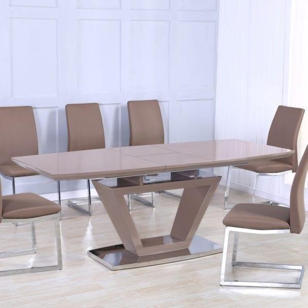 Azaceta Extending Dining Table in Cappuccino Brown High Gloss