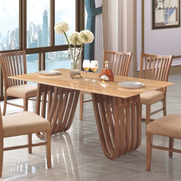 Oliviero Dining Table with Camel Brown Marble Effect Top & Solid Wood Base