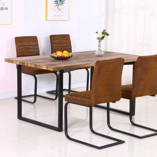 Bolivar Rectangular Dining Kitchen Table in Oak Effect with Black Leg Base