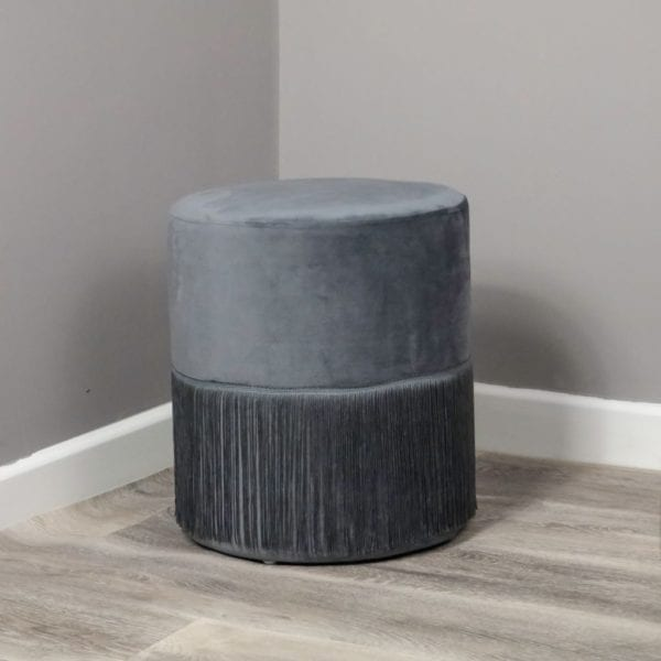 Round Velvet Stool with Tassel Detail - Available in a Choice of Colours
