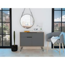 Vermont Compact Sideboard in Bleached Oak Wood & Dark Grey Effect with Black Hairpin Legs